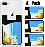 MSD Phone Card holder, sleeve/wallet for iPhone Samsung Android and all smartphones with removable microfiber screen cleaner Silicone card Caddy(4 Pack) IMAGE ID 36163890 beach bag sunglasses and stra