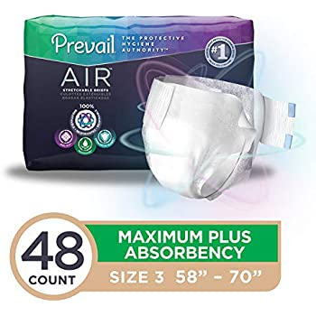 Prevail Air Maximum Plus Absorbency Stretchable Incontinence Briefs/Adult Diapers Size 3 - 48 Count Breathable Rapid Absorption Discreet Comfort Fit Adult ...