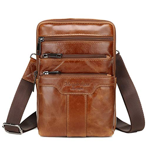Langzu Men's Genuine Leather Cowhide Vintage Messenger Bag Shoulder Bag Crossbody Bag (Light Brown)