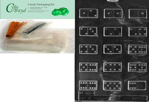 Cybrtrayd Dominoes Miscellaneous Chocolate Candy Mold with Packaging Bundle of 50 Cello Bags, 25 Gold and 25 Silver Twist Ties and Chocolate Molding Instructions