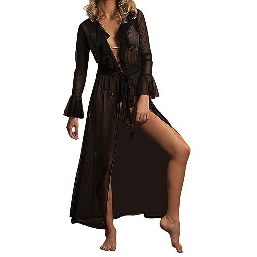 a63294973ffc7 Women Smock Bikini Swimwear Sheer Beach Swimsuit Wrap Perspective Thin  Solid Color (S, Black