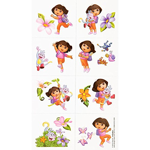 Amscan Colorful Dora's Flower Adventure Party Tattoo (16 Piece), (Halloween Adventures Nyc)