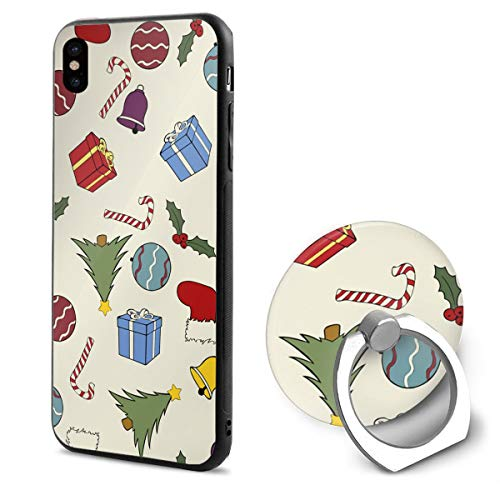 Christmas Theme Print iPhone X Phone Case Soft Flexible TPU Back Cover 5.8 Inch and Ring -