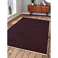 Rugsotic Carpets Hand Woven Kelim Wool 5 x 8 Contemporary Area Rug Plum D00111 With Fringe