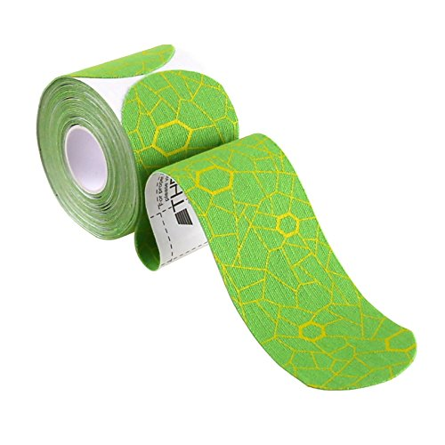 TheraBand Kinesiology Tape, Waterproof Physio Tape for Pain Relief, Muscle & Joint Support, Standard Roll with XactStretch Application Indicators, 2 X 10 Strips, 20 Precut Strips, Green/Yellow