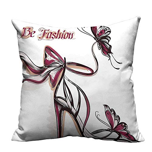 YouXianHome Super Soft Pillowcase High Heels with Butterfly and Ribbon Ornamentals Be Grace Spruceness Theme Pink Resists Wrinkles(Double-Sided Printing) 31.5x31.5 inch ()