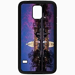 Unique Design Fashion Protective Back Cover For Samsung Galaxy S5 Case Capitol Water Trees Tree USA Winter Black