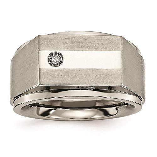 (Chisel Titanium 9 MM Satin and Polished Diamond Wedding Band, Size 9.5)