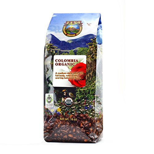 Free Roast Coffee - Java Planet - Colombian USDA Organic Coffee Beans, Fair Trade, Low Acid, Medium Dark Roast, Arabica Gourmet Specialty Grade A (1lb)