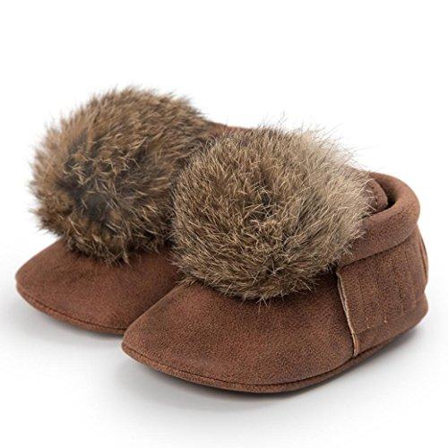 Babyschuhe, Huhu833 Baby Ball Quasten halten warme Lederschuhe Sneaker Anti Rutsch Schuh Kaffee