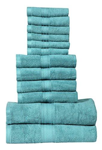 HILLFAIR Bath Towels Set (12 Piece Towel Set, Sea Green)