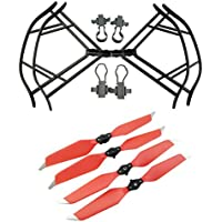 Upgraded Propellers for DJI Mavic Pro 8331 8331F Low-Noise Quick-release Folding Propellers Prop Guard Bumper Rc Quadcopter Spare Part Set (Black-Red)