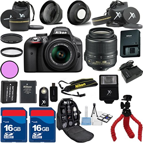 Nikon D3300 Camera with Nikon 18-55mm VR Lens Als Variety Premium Bundle with Deluxe Backpack  XIT 3Pc Filter Kit  XIT Wide Angle Lens  XIT Telephoto Lens  Spider Flexible Tripod  Extra High Capacity Battery  Extra ACDC Rapid Charger  2pcs 16G...