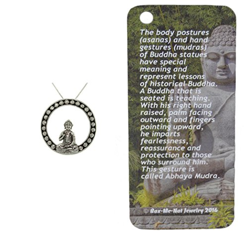 Peter Stone Sterling Silver Buddha Symbol Charm Necklace by with Informational Card and 18