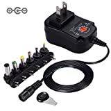 [Negative Version] SoulBay 12W Universal Charger AC/DC Adapter Switching Power Supply with 6 Selectable Adapter Plugs, Suitable for 3 V to 12 V Device