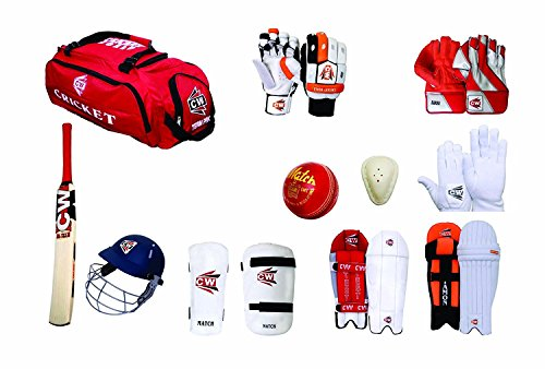 C&W Cricket World Hi Tech Match Team Kashmir Willow Red 12 Item Full Senior Size Complete All Cricket Tools Batting and Keeping Accessories Set for Senior/Adult Tournament/College/School/Club Matches ()