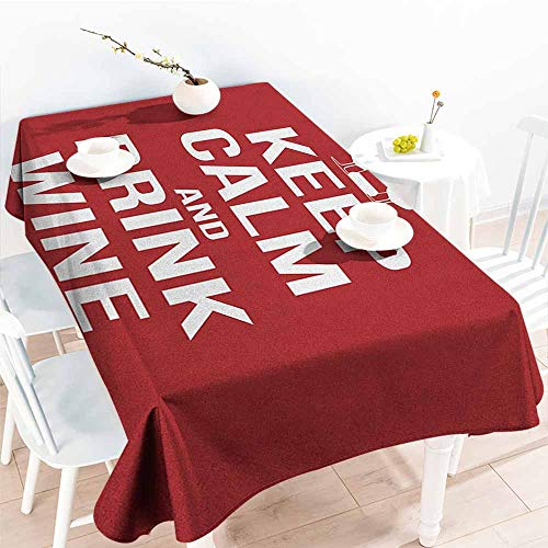 EwaskyOnline Custom Tablecloth,Keep Calm Wine Theme with a Bottle and Two Glasses Popular Slogan About Alcoholic Drink,Table Cover for Kitchen Dinning Tabletop Decoratio,W52x70L, Ruby White -