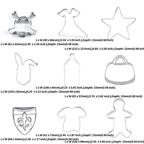 9 piezas de cortador de galletas de metal para fondant de pastelería, camiseta de manga corta para hombre o niño, bolso de mano, monedero, botella de bebé, ...