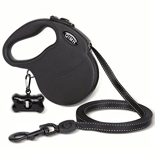 QiMH Retractable Dog Leash, 16FT Dog Walking Leash Rope for Small Medium Large Dogs up to 110lbs, Tangle Free, Soft Handle, Reflective Ribbon, One Button Break and Lock Dog Waste Bag included by QiMH