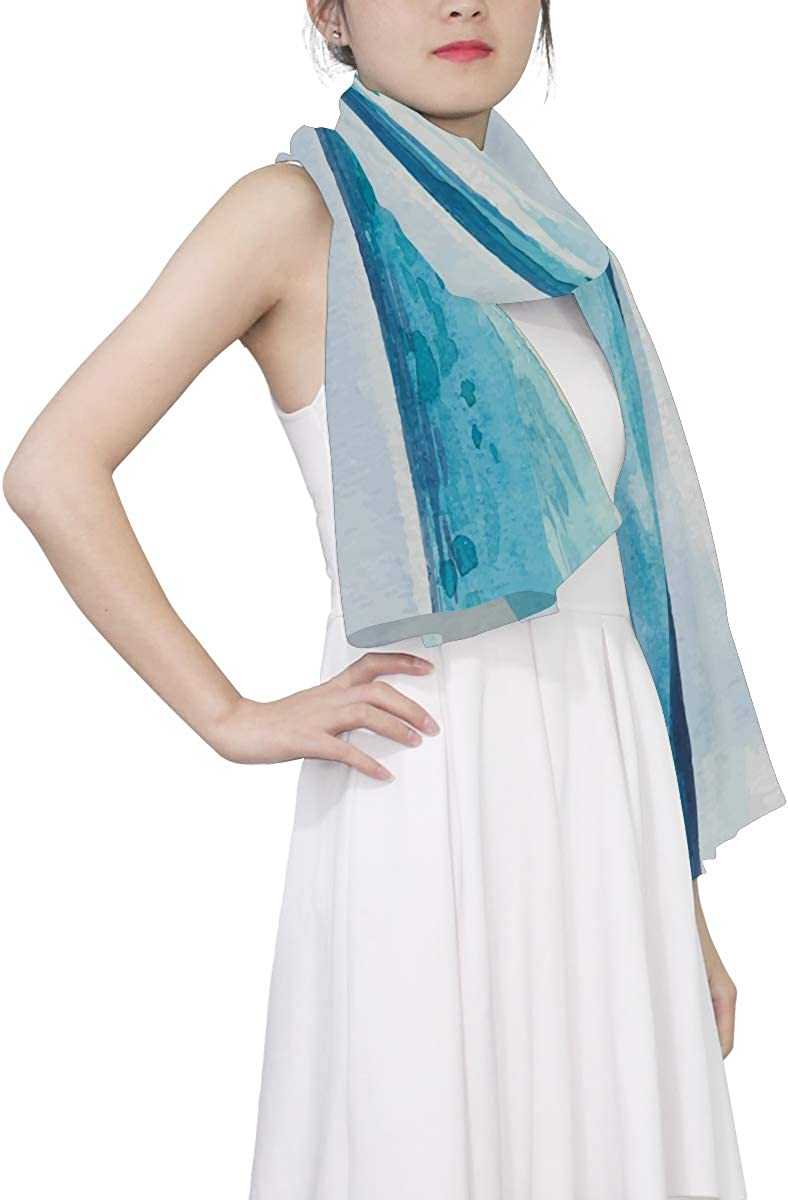 EELa Long Shawl for Women Watercolor Sea Background Printed Wrap 70x35 inches