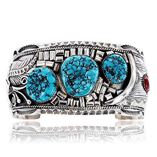 - $2450Tag Collectable Certified Silver Navajo Coral Turquoise Signed Cuff Bracelet 12471 Made by Loma Siiva