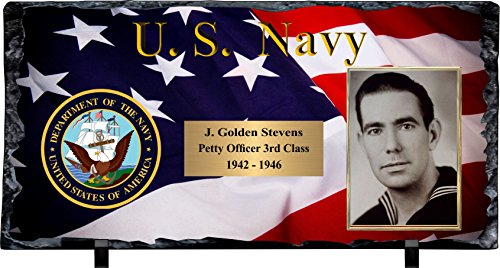 - Awards, Trophies and Plaques Personalized Navy Slate Stone Plaque with Photograph & Engraving.