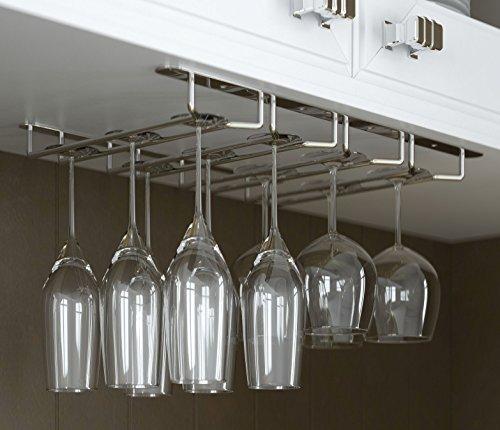Stemware Glass Rack Wine Glasses Under Cabinet Chrome Finish