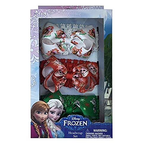 Disney Frozen Olaf Anna Elsa Girls Christmas Style Headwraps Set 3PK Grenn White (Disney Pin Grab Bag)