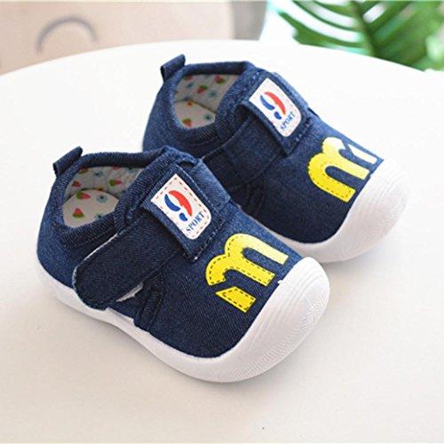 Prevently Baby Schuhe Kinder Brief Drucken Kleinkind Schuhe Genannt Schuhe Kleinkind Neugeborenen Baby Kinder Baby Druck quietschende Schuhe Sportschuhe Dunkelblau