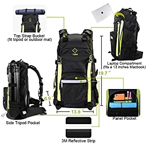TUBU Large Camera Backpack for Outdoor Hiking Shockproof Waterproof Fit Laptop DSLR Cameras and Gears (Black)