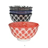 Set 4 Assorted Geometric Japanese-Style Porcelain 12oz Asian Rice Bowls
