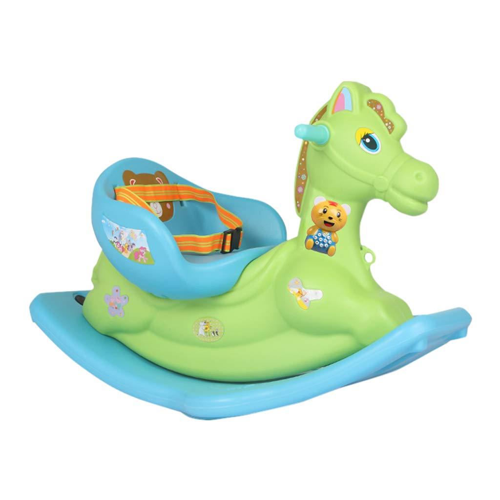 Caballo mecedora HUYP El Juguete Niños Acolchados Trojan del Bebé con Música Plástico Regalo De Cumpleaños (Color : Green)