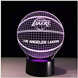 Los Angeles Lakers Luz Nocturna 3D Lebron James Kobe American Basketball Club Lámpara Usb Led Iluminación Mesa Mesita…