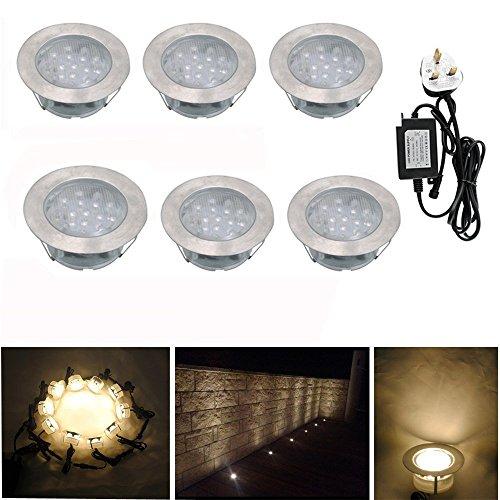 Set of 6 LED Deck Lights Warm White Waterproof IP67 Recessed Wood Yard Garden Patio Kitchen Plinth Stairs Lighting