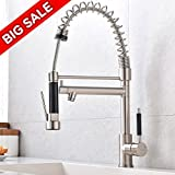 VCCUCINE Best Modern Commercial Brushed Nickel Stainless Steel Single Lever Pull Out Sprayer Kitchen Faucet, High Arch Spring Pull Down Kitchen Sink Faucet