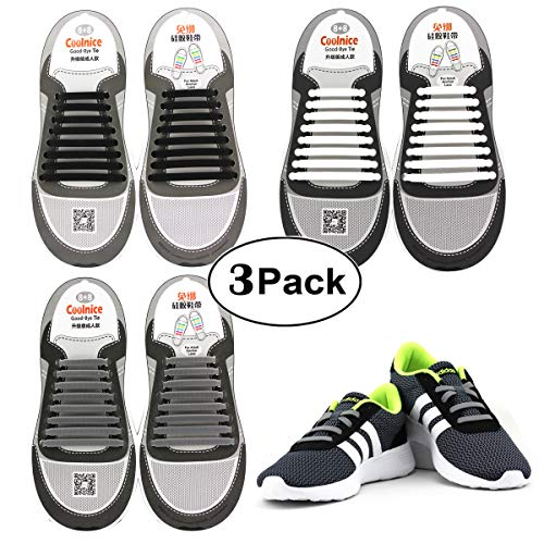 Elastic Shoelaces 3 Packs for Adult, Waterproof and Stretchy Silicone Tieless Shoe Laces for Sneakers, Converse, Dress Shoes, Boots, Eliminate Loose Shoelace Accidents ()