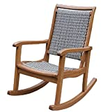 Outdoor Interiors Resin Wicker and Eucalyptus Rocking Chair, Brown and Grey For Sale