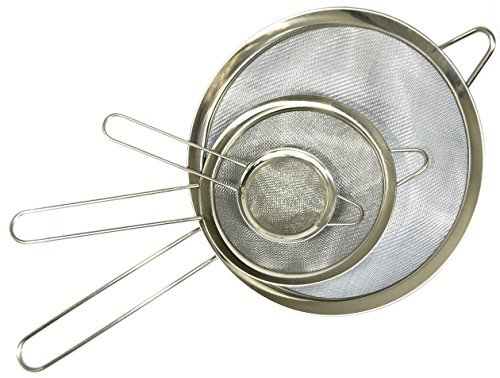 Food Strainer, Set of 3, by HouseBasics, Ideal as Quinoa, Tea, Spaghetti Strainer, and more! Stainless Steel and Ultra-Fine Mesh. Great Strainer for Any Style of Cooking or Baking! Get Yours Today!