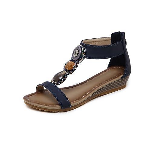 Cuña Lacitena Sandalias De Bohemio Romanas Zapatos Tacón Vintage RjL345A