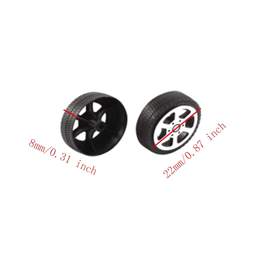 Aodesy Plastic Toys Wheel Plastic Roll 22mm//0.87 inch Dia Car Truck Model Toys Wheel 30pcs
