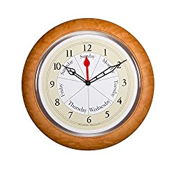 DayClocks CM Contemporary Maple Analog Clock - Displays Day of Week & Time of Day