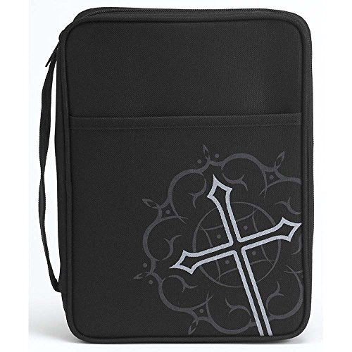 Bible Cover Nylon - Black Medallion Cross and Pocket Nylon Bible Cover with Handle, Large