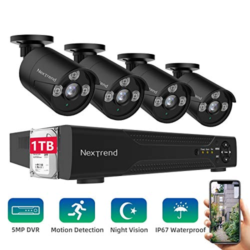 [DEAL]Security Camera System,NexTrend Wired Home Surveillance Cameras System 8CH 5MP DVR with 4 Full HD Indoor Outdoor Weatherproof CCTV Cameras 1TB Hard Drive Motion Alert Night Vision Remote Monitor