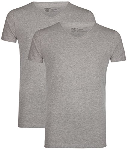 Petrol Industries 2er-Pack T-Shirts Herren M-BF-VLYCRA light grey melee, L