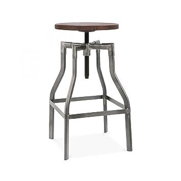 Design Lab MN Machinist Adjustable Barstool, Gunmetal Wood