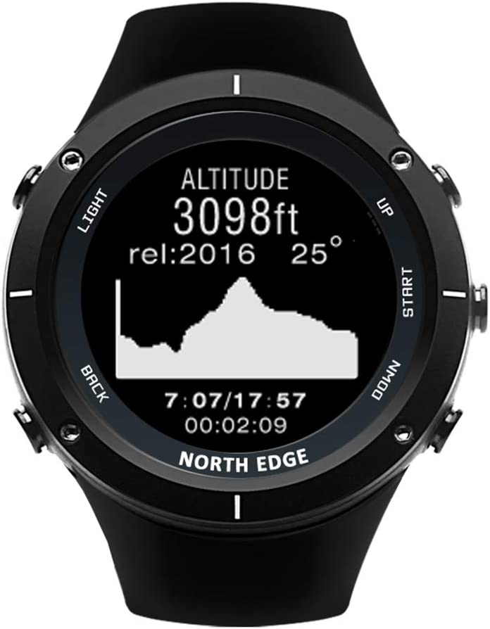 OOLIFENG GPS Reloj Buceo, Podómetro Bluetooth con Altímetro Barómetro Brújula Pulsómetros 164 pies Impermeable para Natación, Trote