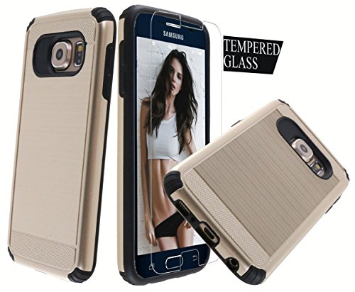 - Dual Layer Armor [Free Tempered Glass Screen Protector][ Drop Protection] Full Body Protective Hybrid Case cover for Galaxy S6 (Champagne Gold)
