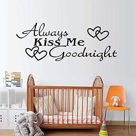 Ajcwhml Siempre bésame Buenas Noches Hermosa Decorativa Extraíble DIY Pegatinas de Pared Arte de Vinilo Corazones Printe Cotizaciones Calcomanías para el Dormitorio 28x74cm: Amazon.es: Hogar