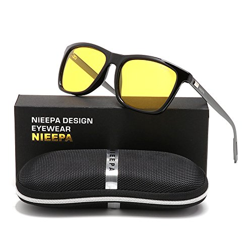 NIEEPA Square Polarized Sunglasses Aluminum Magnesium Temple Retro Driving Sun Glasses (Night Vision Lens/Bright Black - Driving Glasses Yellow
