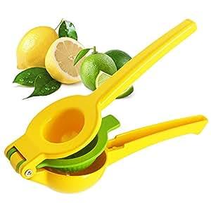 SAIBANG Premium Lemon Squeezer Lime Juicer Citrus Press - 2 In 1 Double Bowls Manual Hand Held Orange Fruit Wedge and Salad Dressing Press Tool